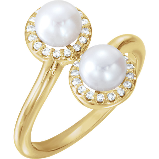 Great Buy in 14 Karat Yellow Gold Freshwater Cultured Pearl & 0.17 Carat Total Weight Diamond Ring