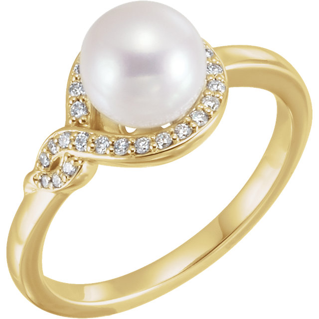 Must See 14 Karat Yellow Gold Freshwater Cultured Pearl & 0.12 Carat Total Weight Diamond Bypass Ring