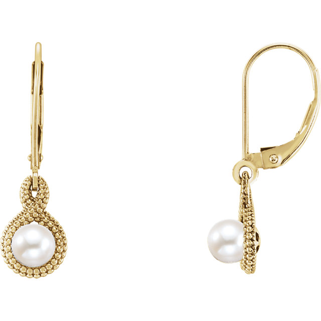 Great Deal in 14 Karat Yellow Gold Freshwater Cultured Pearl Beaded Earrings
