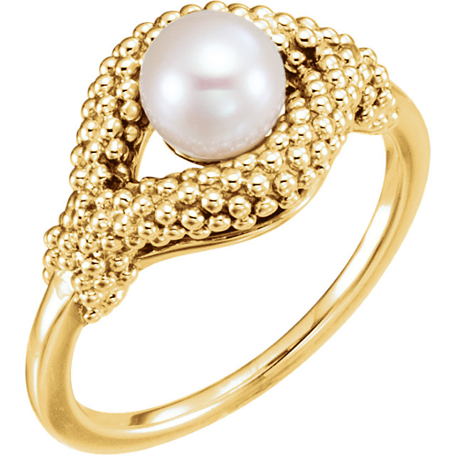 Contemporary 14 Karat Yellow Gold Freshwater Cultured Pearl Beaded Ring