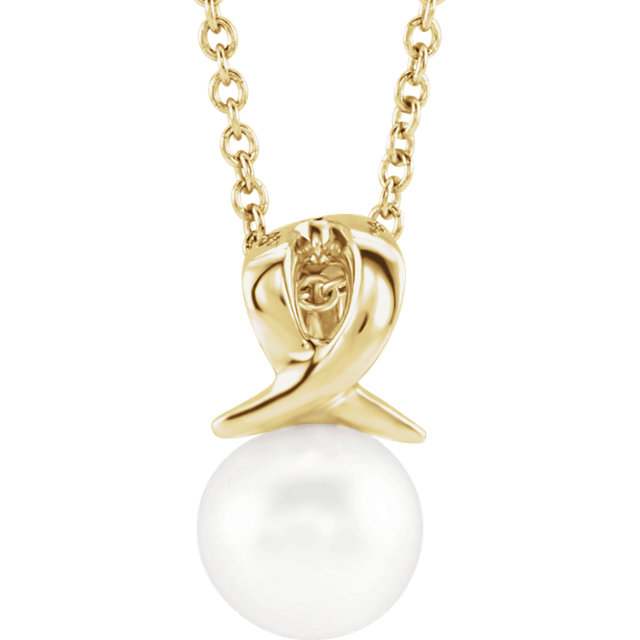 White Pearl Necklace in 14 Karat Yellow Gold Freshwater Cultured Pearl Bypass 16-18