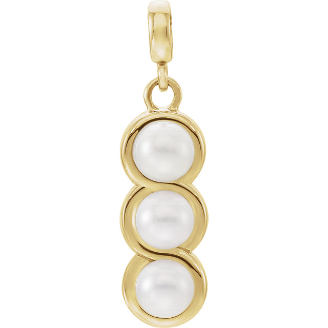 Genuine  14 KT Yellow Gold Freshwater Cultured Pearl Pendant
