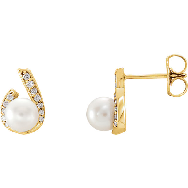 White Pearl Earrings in Alluring 14 Karat Yellow Gold Freshwater & 0.10 Carat Diamond Earrings