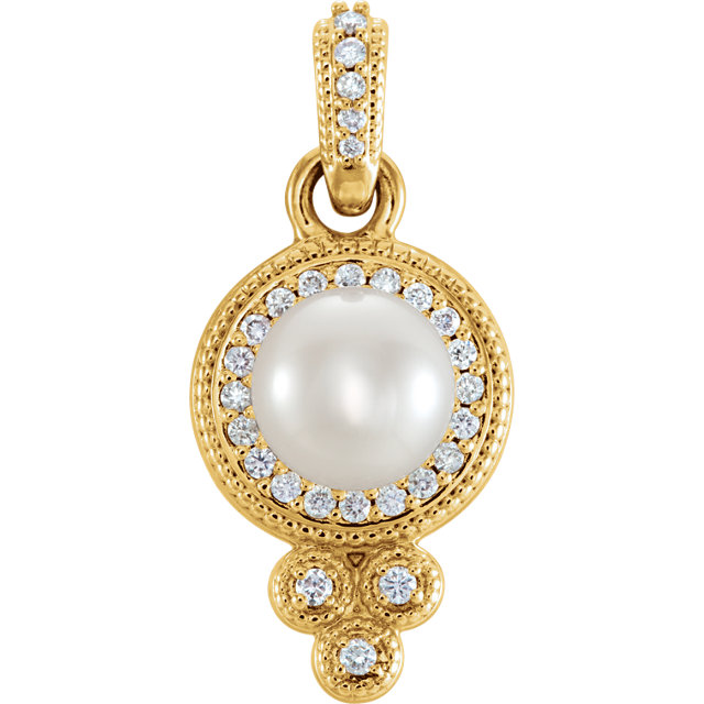 Must See 14 KT Yellow Gold Freshwater Pearl & 0.12 Carat TW Diamond Pendant
