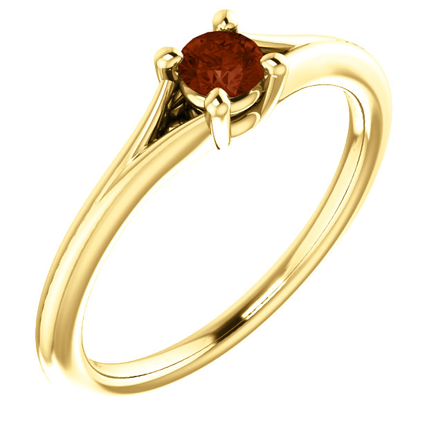 Chic 14 Karat Yellow Gold Garnet Youth Ring