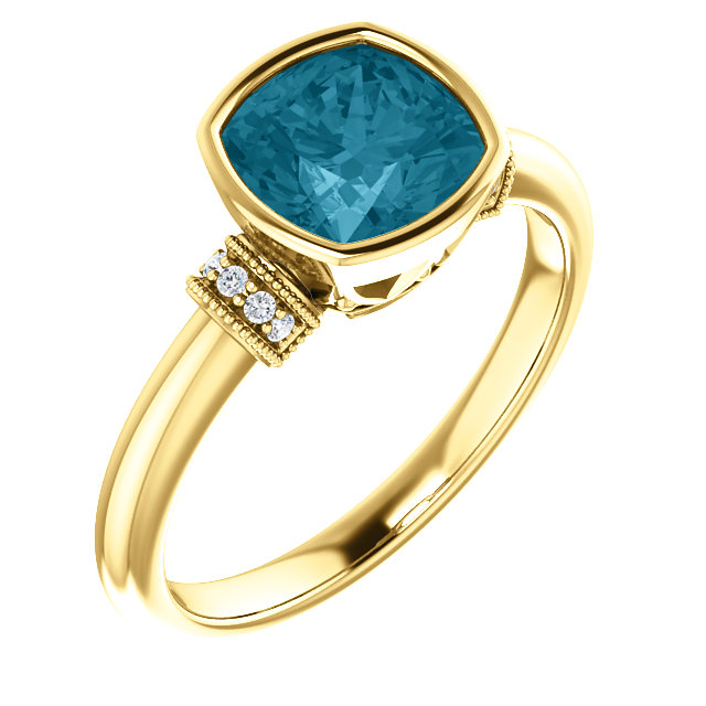 Appealing Jewelry in 14 Karat Yellow Gold London Blue Topaz & .04 Carat Total Weight Diamond Ring