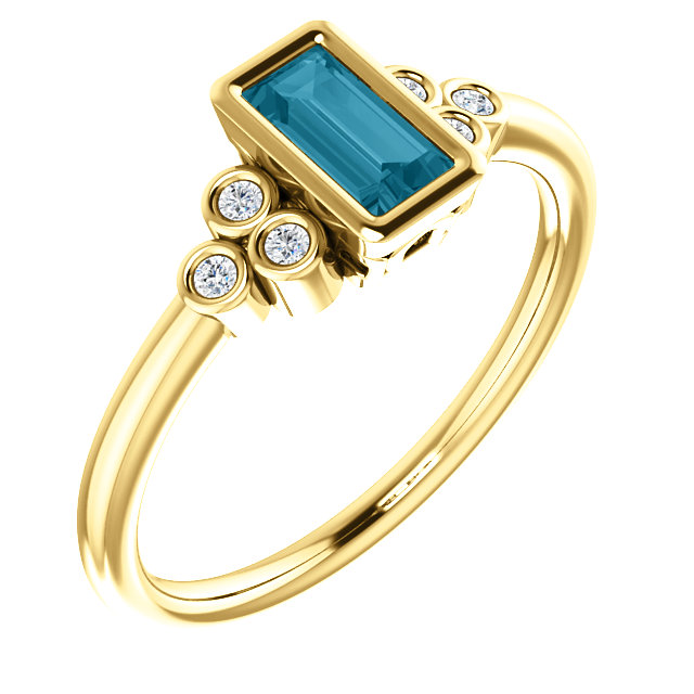Genuine 14 Karat Yellow Gold London Blue Topaz & .06 Carat Diamond Ring