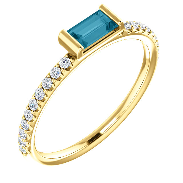 14 Karat Yellow Gold London Blue Topaz & 0.17 Carat Diamond Stackable Ring