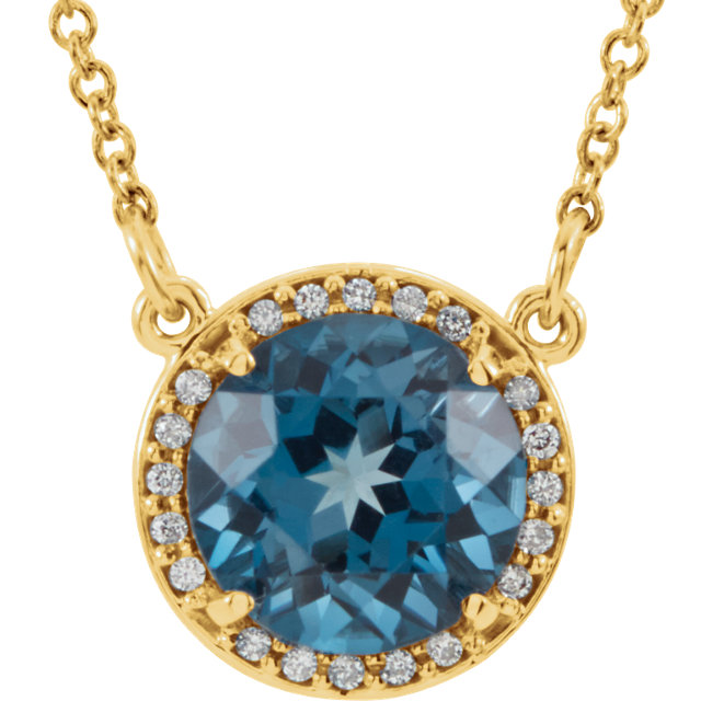 Contemporary 14 Karat Yellow Gold 7mm Round London Blue Topaz & .04 Carat Total Weight Diamond 16