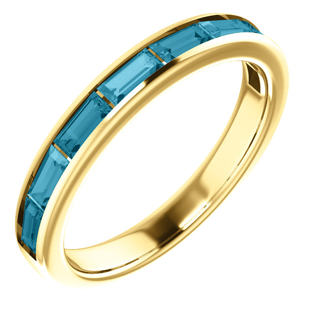 Fantastic 14 Karat Yellow Gold Straight Baguette Genuine London Blue Topaz Ring