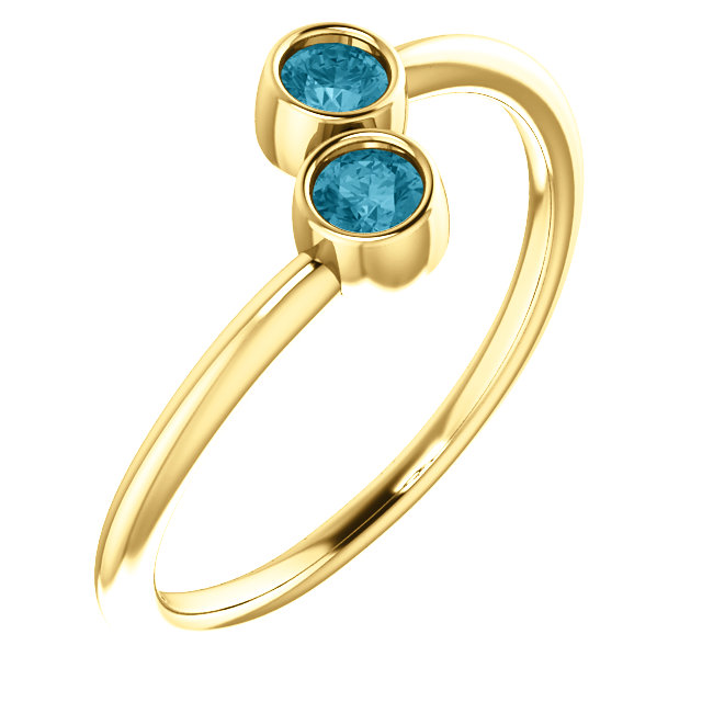 Incredible 14 Karat Yellow Gold Round Genuine London Blue Topaz Two-Stone Ring