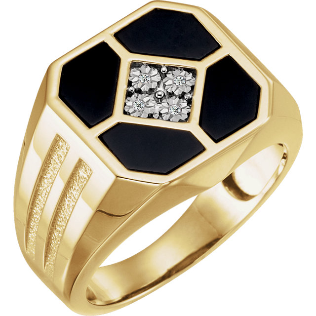 Wonderful 14 Karat Yellow Gold Men's Onyx & .02 Carat Total Weight Diamond Ring