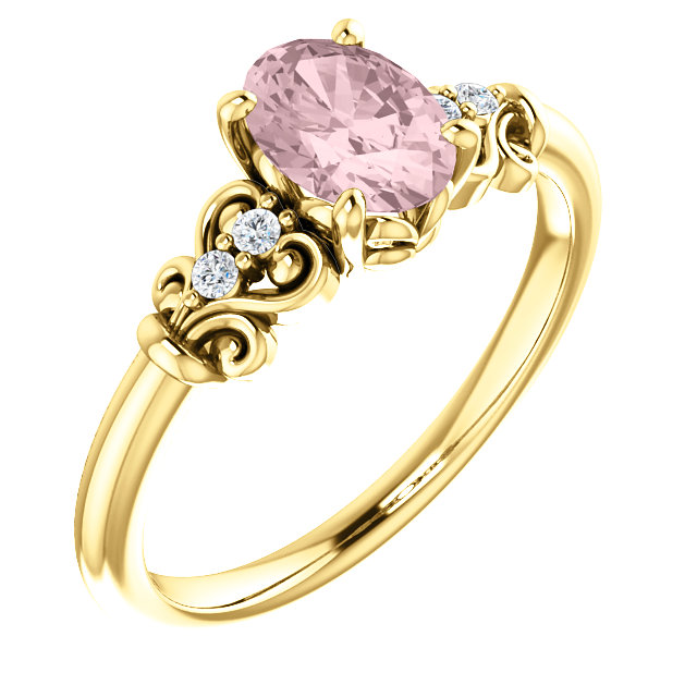 Genuine 14 KT Yellow Gold Morganite & .04 Carat TW Diamond Ring