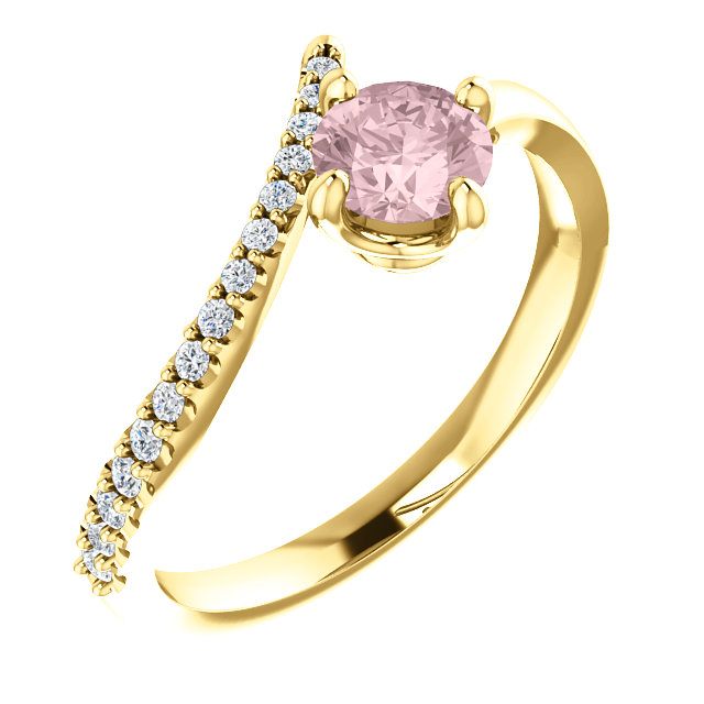 Great Gift in 14 Karat Yellow Gold Morganite & 0.10 Carat Total Weight Diamond Bypass Ring