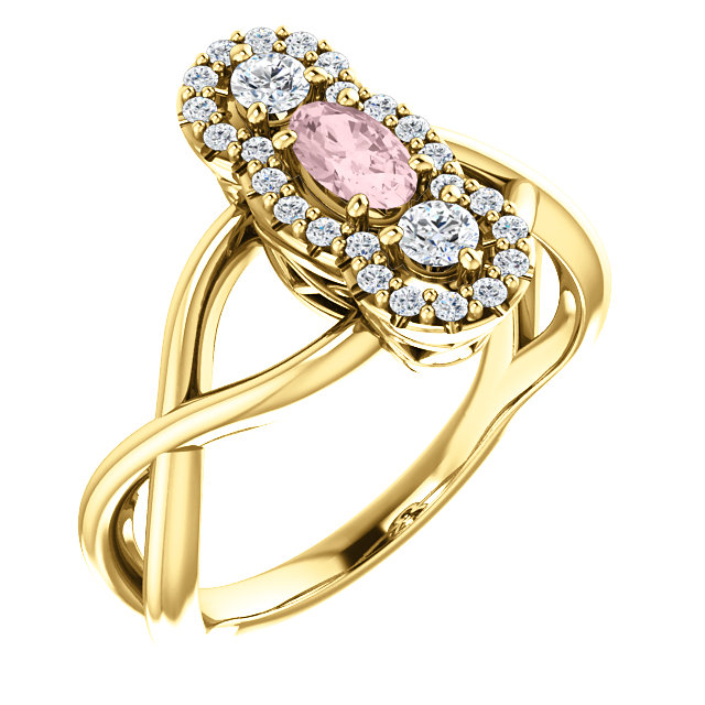 Great Deal in 14 Karat Yellow Gold Morganite & 0.25 Carat Total Weight Diamond Ring