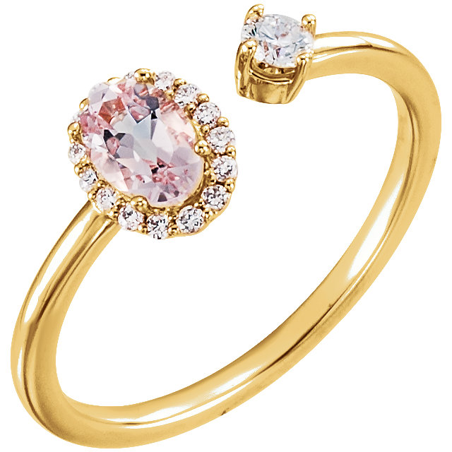 Chic 14 Karat Yellow Gold Morganite & 0.17 Carat Total Weight Diamond Ring