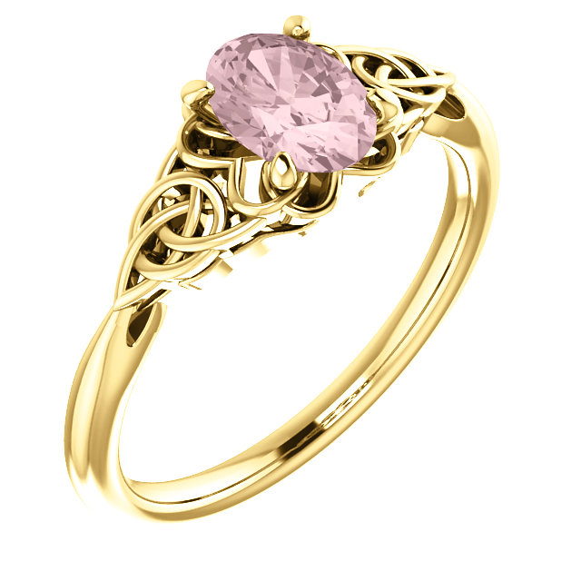 Wonderful 14 Karat Yellow Gold Morganite Celtic-Inspired Ring