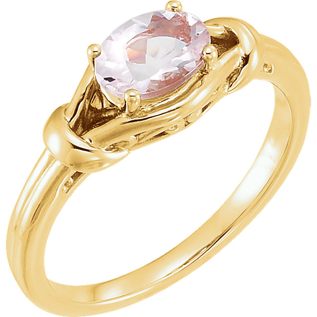 Fine 14 KT Yellow Gold Morganite Knot Ring