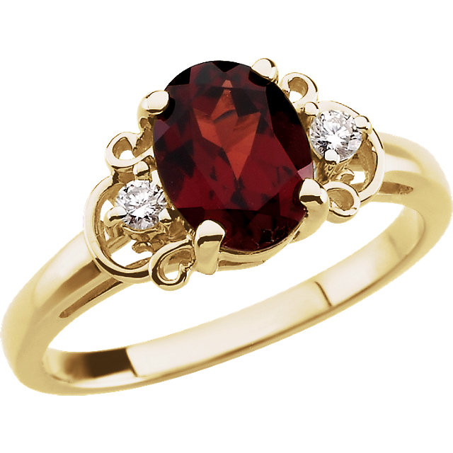 Perfect Gift Idea in 14 Karat Yellow Gold Mozambique Garnet & .06 Carat Total Weight Diamond Accented Ring