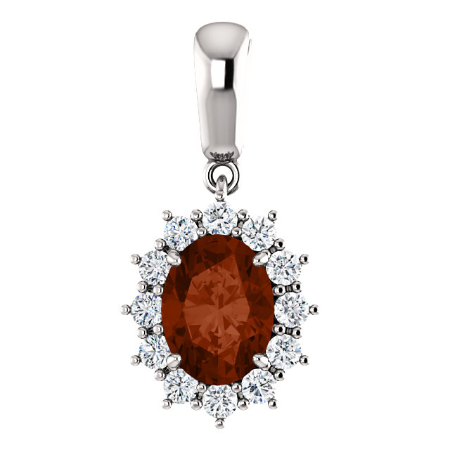 Great Buy in 14 Karat Yellow Gold Mozambique Garnet & 0.33 Carat Total Weight Diamond Pendant