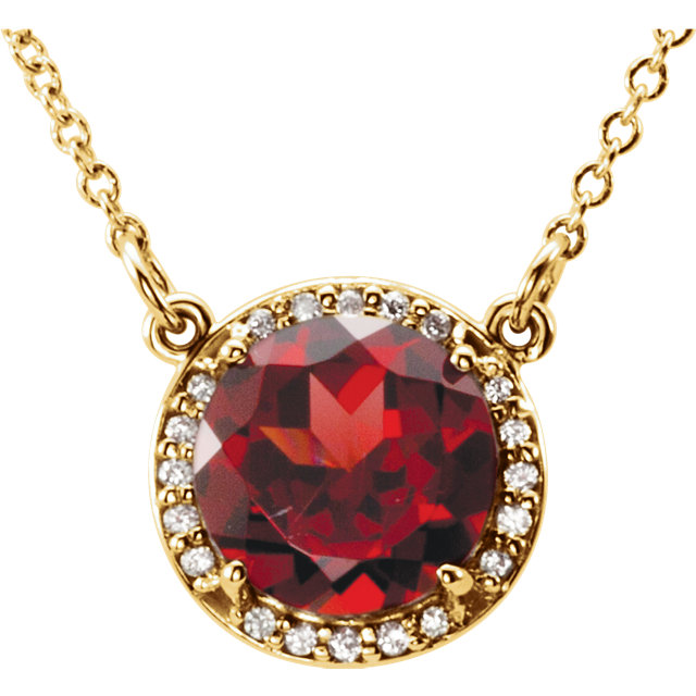 Wonderful 14 Karat Yellow Gold 7mm Round Mozambique Garnet and .04 Carat Total Weight Diamond Necklace