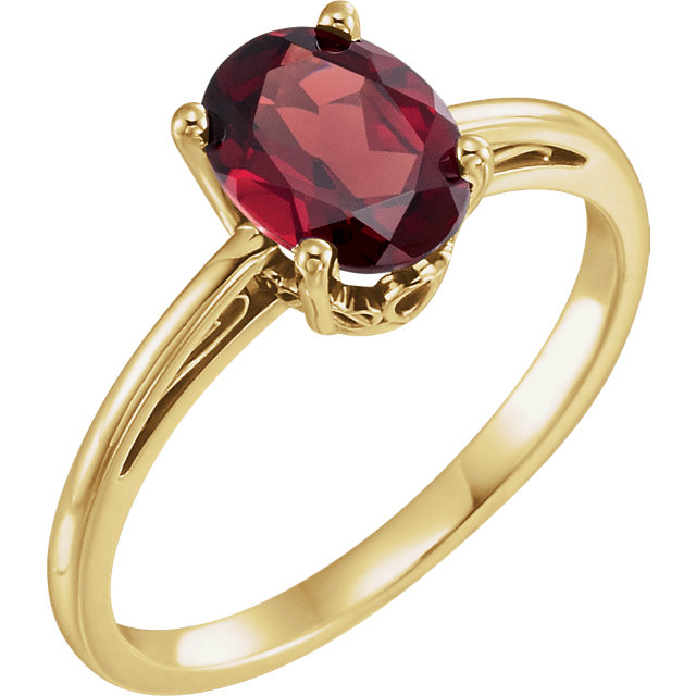 Wonderful 14 Karat Yellow Gold Mozambique Garnet Ring