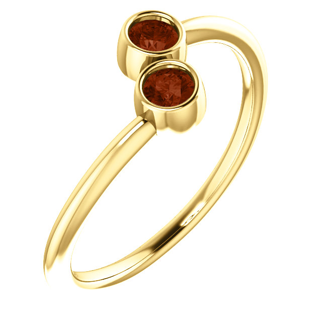Appealing Jewelry in 14 Karat Yellow Gold Mozambique Garnet Two-Stone Ring