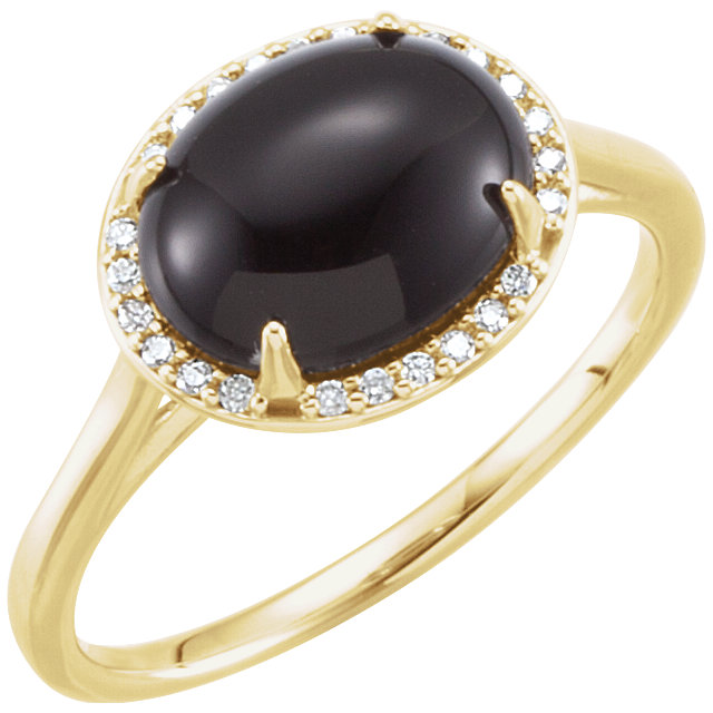 Fine Quality 14 Karat Yellow Gold Onyx & .04 Carat Total Weight Diamond Ring