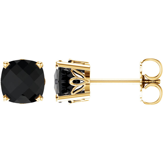 14 Karat Yellow Gold Onyx Earrings
