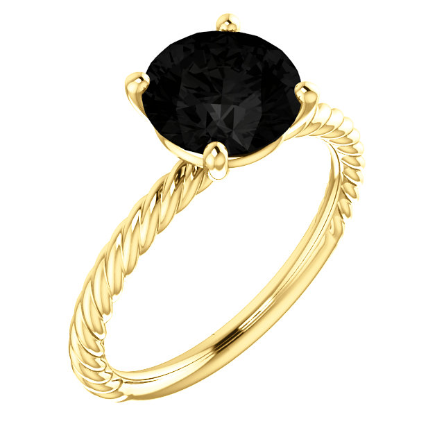 Black Black Onyx Ring in 14 Karat Yellow Gold Onyx Ring