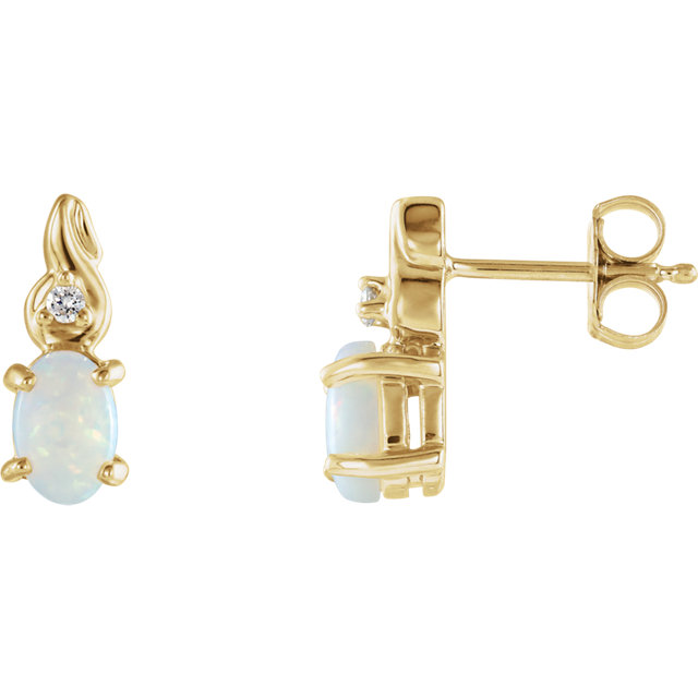 Great Buy in 14 Karat Yellow Gold Opal & .03 Carat Total Weight Diamond Earrings