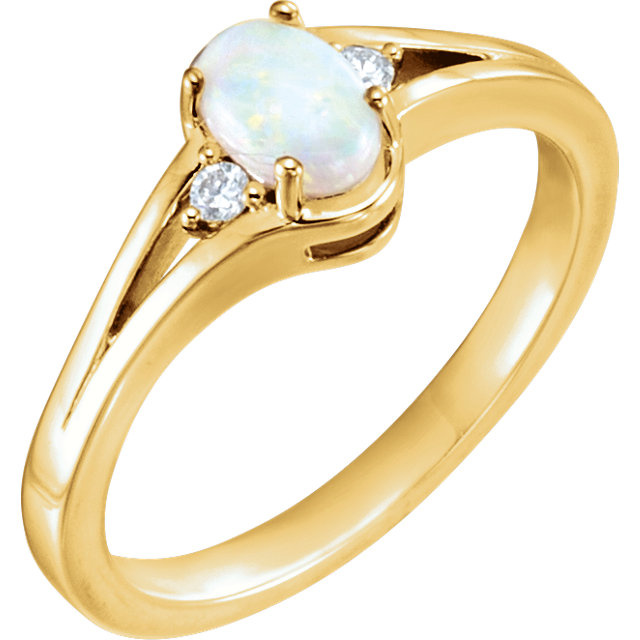 Surprise Her with  14 Karat Yellow Gold Opal & .04 Carat Total Weight Diamond Ring