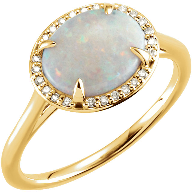 Appealing Jewelry in 14 Karat Yellow Gold Opal & .04 Carat Total Weight Diamond Ring