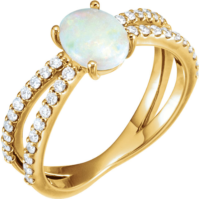 Eye Catchy 14 Karat Yellow Gold Opal & 0.33 Carat Total Weight Diamond Ring