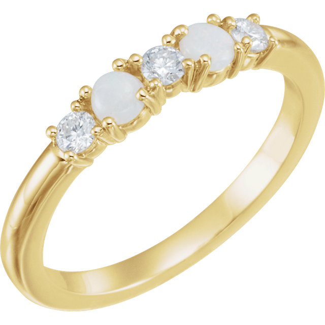 Surprise Her with  14 Karat Yellow Gold Opal & 0.20 Carat Total Weight Diamond Stackable Ring