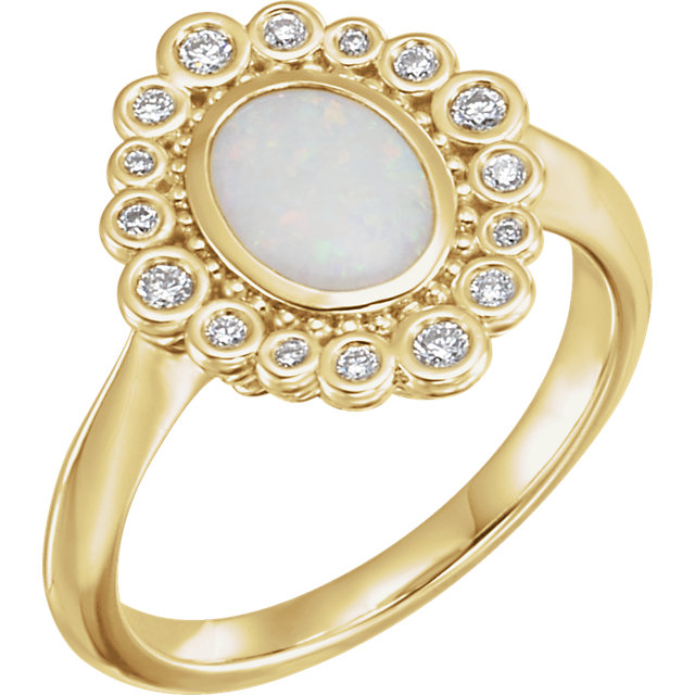 Perfect Jewelry Gift 14 Karat Yellow Gold Opal & 0.17 Carat Total Weight Diamond Ring