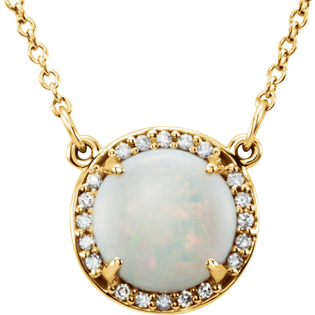 Easy Gift in 14 Karat Yellow Gold 7mm Round Opal & .04 Carat Total Weight Diamond 16