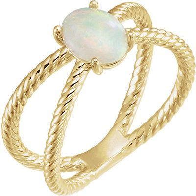 Contemporary 14 Karat Yellow Gold 8x6mm Oval Cabochon Rope Ring Mounting