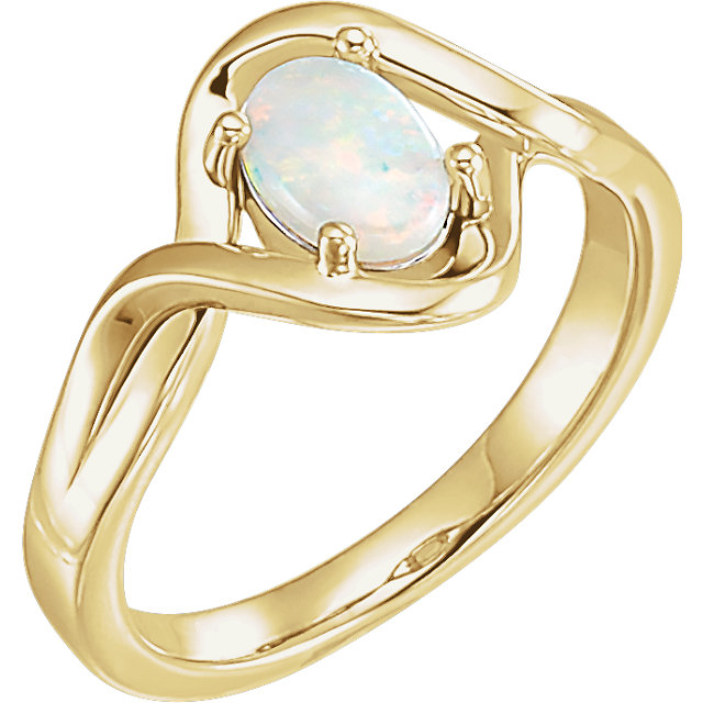 Wonderful 14 Karat Yellow Gold Opal Freeform Ring