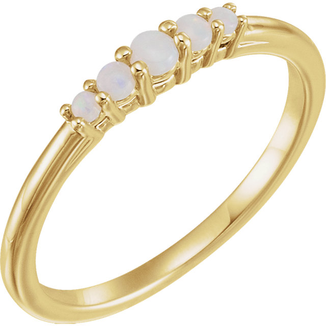 Eye Catchy 14 Karat Yellow Gold Opal Graduated Five-Stone Ring