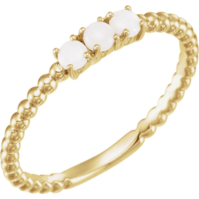 14 Karat Yellow Gold Opal Stackable Beaded Ring