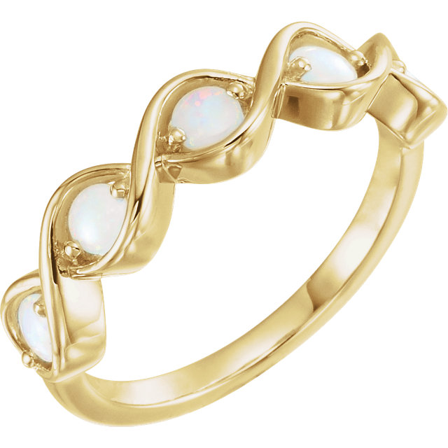 Stunning 14 Karat Yellow Gold Opal Stackable Ring