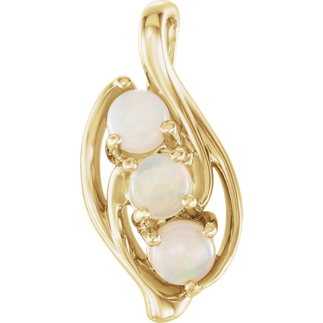Shop Real 14 KT Yellow Gold Opal Three-Stone Pendant