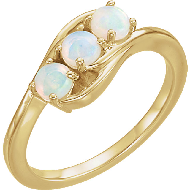 Fine Quality 14 Karat Yellow Gold Opal Three-Stone Ring