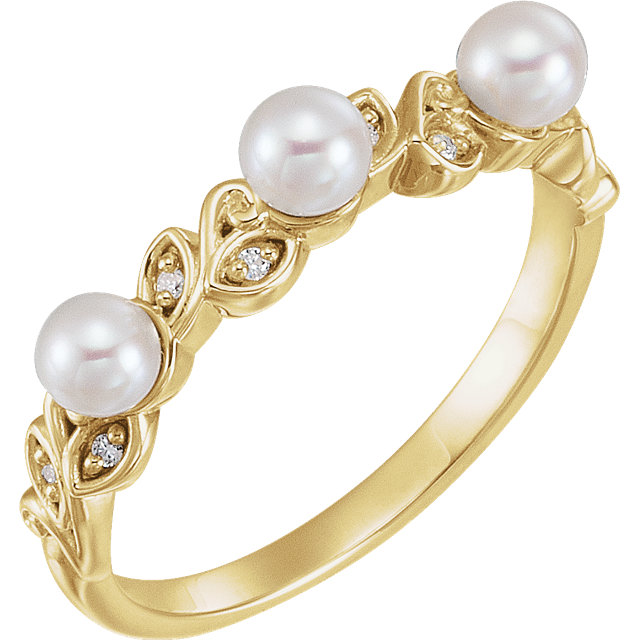 White Pearl Ring in 14 Karat Yellow Gold & .03 Carat Diamond Stackable Leaf Pattern Ring