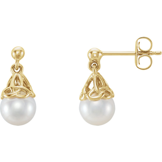 Perfect Jewelry Gift 14 Karat Yellow Gold Pearl Earrings