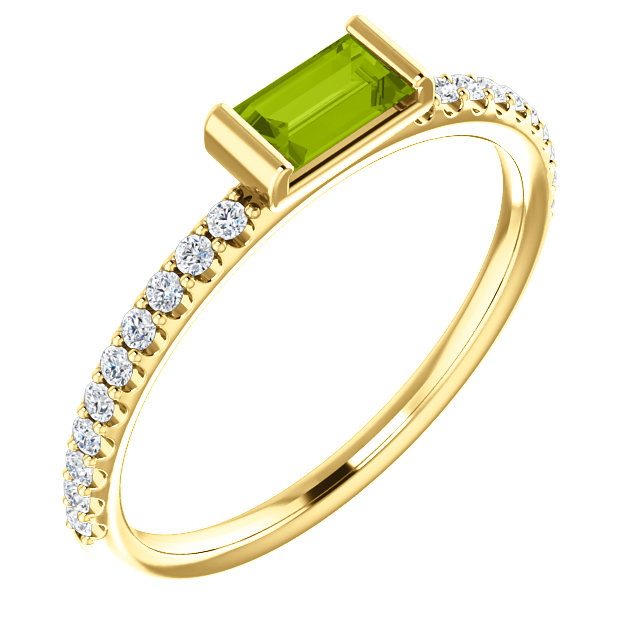 Classic 14 Karat Yellow Gold Straight Baguette Genuine Peridot & 1/6 Carat Total Weight Diamond Stackable Ring