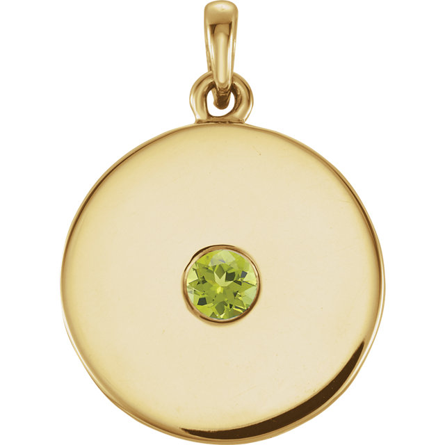 Great Deal in 14 Karat Yellow Gold Peridot Disc Pendant