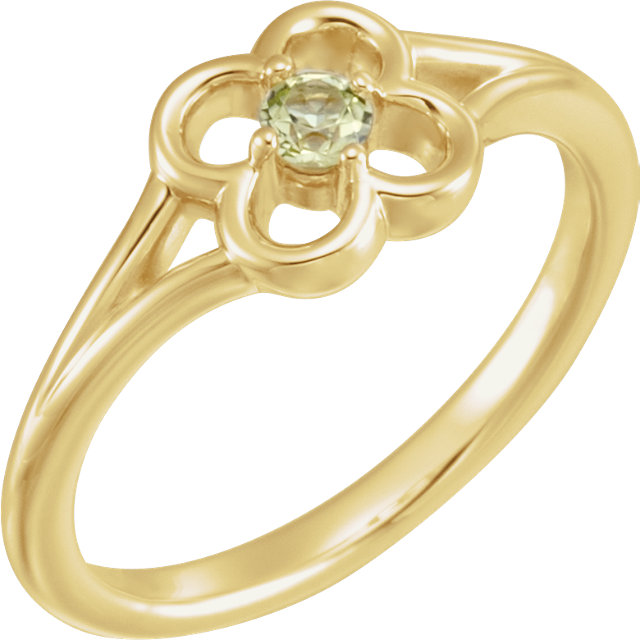 Captivating 14 Karat Yellow Gold Round Genuine Peridot Flower Youth Ring