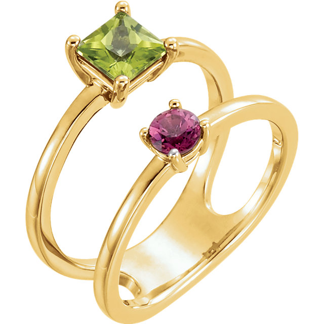 Beautiful 14 Karat Yellow Gold Peridot & Pink Tourmaline Two-Stone Ring